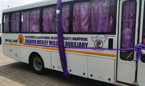 "SVANI GROUP LTD DONATES AN EICHER 33 SEATER BUS TO ""THE METHODIST CHURCH GHANA. (SUSANA WESLEY MISSION AUXILIARY) MAMPROBI"