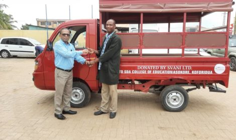 SVANI GROUP LTD DONATES A MAHINDRA SUPRO TO SDA COLLEGE OF EDUCATION ASOKORE. KOFORIDUA